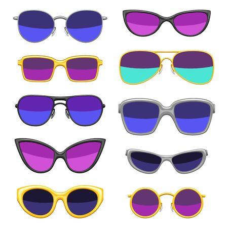 Set stijlvolle zonnebrillen. Kleurrijke heldere abstracte modieuze accessoires.