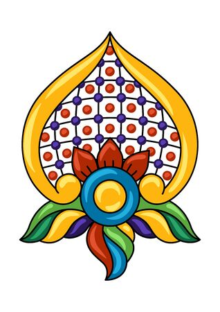 Mexican decoration of talavera ceramic tile pattern. Ethnic folk flower. Traditional decorative objects.