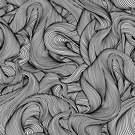 Seamless pattern with wave line curls. Monochrome stripes black and white texture. Wavy abstract fur or hair.