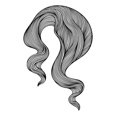 Boucle de ligne de vague. Texture noire et blanche de rayures monochromes. Fourrure ou cheveux abstraits ondulés.