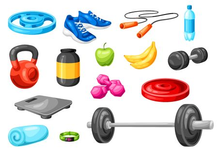 Set of fitness equipment. Sport bodybuilding items illustrations. Healthy lifestyle objects. Vettoriali