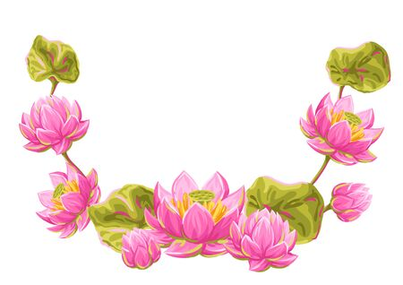Decorative element with lotus flowers. Water lily illustration. Natural tropical plants. Ilustrace