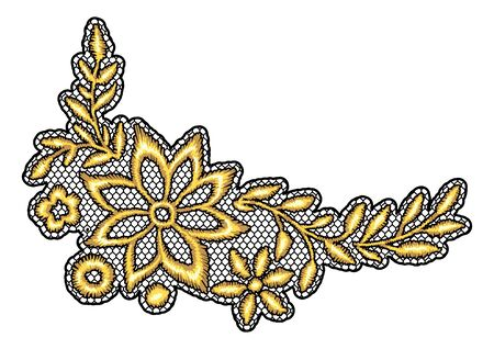 Lace decorative element with gold flowers. Vintage golden embroidery on lacy texture grid. Vector Illustration