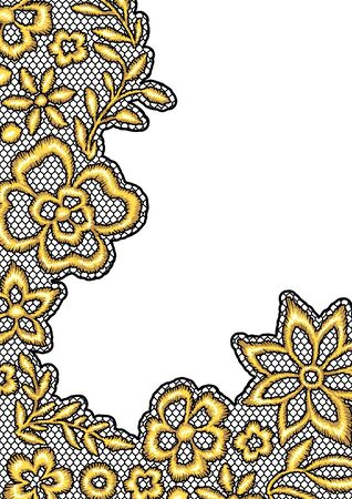 Lace background with gold flowers. Vintage golden embroidery on lacy texture grid. Ilustração