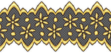 Lace seamless pattern with gold flowers. Vintage golden embroidery on lacy texture grid. Çizim