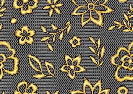 Lace seamless pattern with gold flowers. Vintage golden embroidery on lacy texture grid.