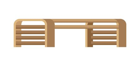 Wooden bench illustration. Image icon of seat for parks and squares.