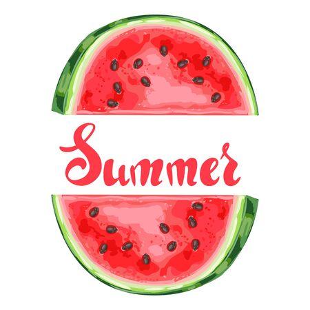 Background with ripe watermelon slice. Summer fruit decorative illustration.