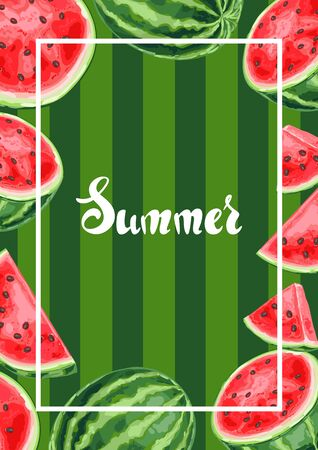 Background with watermelons and slices. Summer fruit decorative illustration.