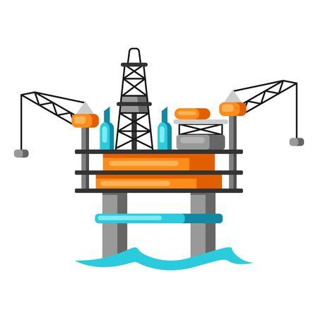 Illustration of oil sea platform. Industrial equipment in flat style.