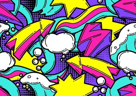 Seamless pattern with cartoon decorative elements. Ilustración de vector