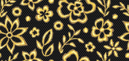 Lace seamless pattern with gold flowers. Vintage golden embroidery on lacy texture grid. Illustration