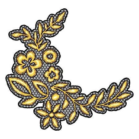 Lace decorative element with gold flowers. Vintage golden embroidery on lacy texture grid.
