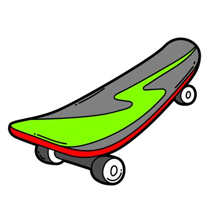 Illustration of cartoon skateboard. Urban colorful teenage creative image. Fashion symbol in modern comic style.