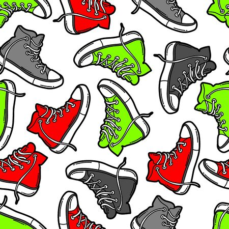 Seamless pattern with cartoon sneakers.
