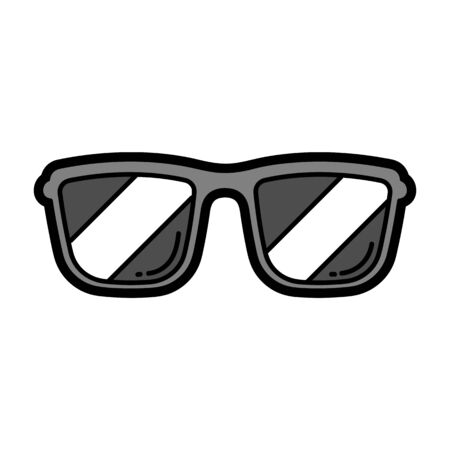 Illustration of cartoon sunglasses. Urban colorful teenage creative image. Fashion symbol in modern comic style.