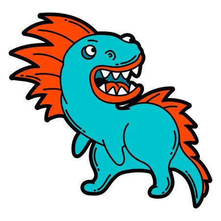 Illustration of cartoon monster. Urban colorful teenage creative image. Evil creature in modern comic style.