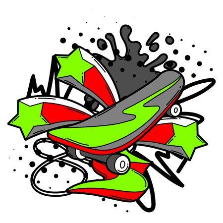 Illustration with cartoon skateboard. Urban colorful teenage creative image. Fashion symbol in modern comic style.