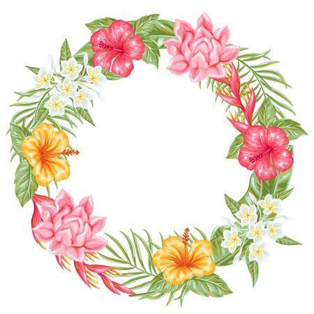 Frame with tropical flowers and leaves.