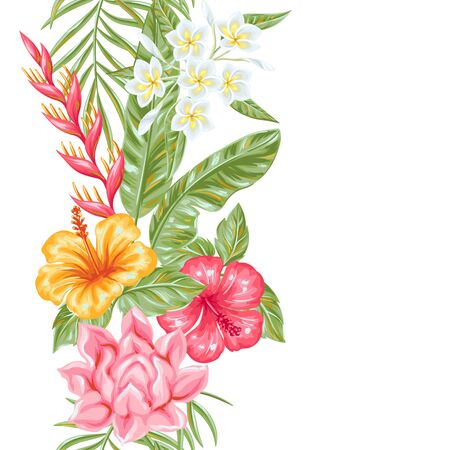 Seamless pattern with tropical flowers and leaves