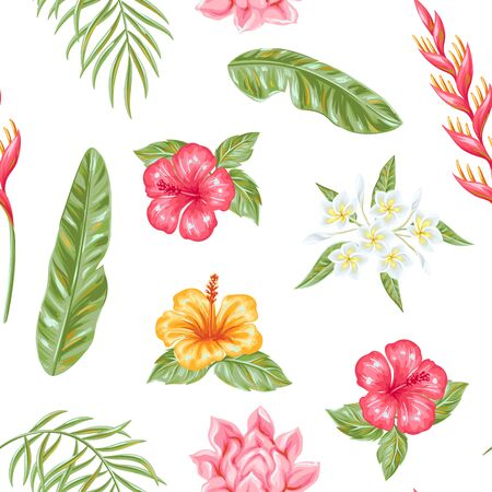 Seamless pattern with tropical flowers and leaves.