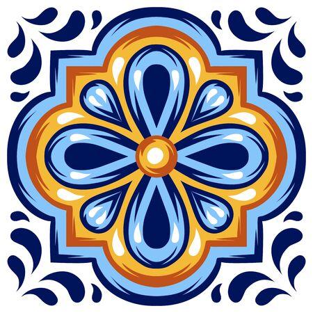 Italian ceramic tile pattern. Mediterranean porcelain pottery. Ethnic folk ornament. Mexican talavera, portuguese azulejo or spanish majolica. 写真素材 - 143425711