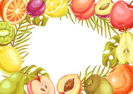 Frame with ripe fruits and palm leaves. Tropical vegetarian food decorative illustration.