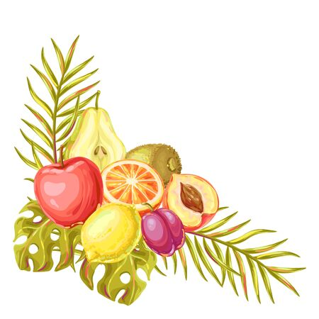Background with ripe fruits and palm leaves. Tropical vegetarian food decorative illustration.