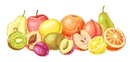Background with ripe fruits. Tropical vegetarian food decorative illustration.