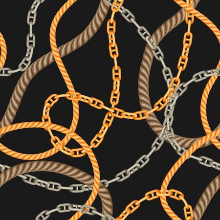 Seamless pattern with old chains and ropes. Nautical chain and string decorative background.