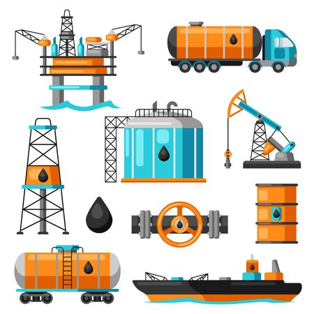 Set of oil and petrol icon. Industrial and business illustration. Иллюстрация