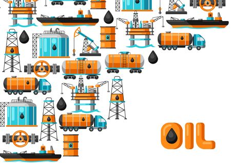 Background design with oil and petrol icons. Industrial and business illustration.