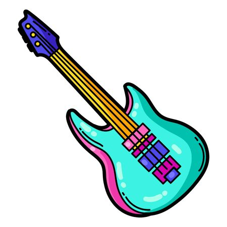 Illustration of cartoon musical electric guitar. Music party colorful teenage creative image. Fashion symbol in modern comic style. Vektorové ilustrace