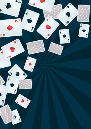 Background with four aces playing cards suit. On-board game or gambling for casino.