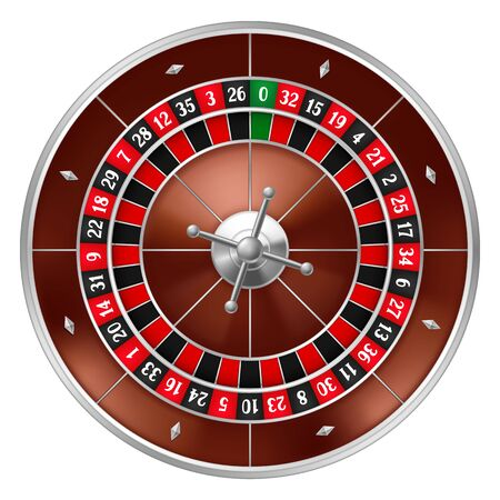 Realistic casino gambling roulette wheel. Equipment for the money games.