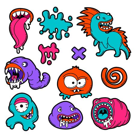 Set of cartoon monsters. Urban colorful teenage creative illustration. Evil creatures in modern comic style.