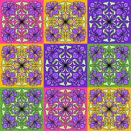 Art Nouveau ceramic tile pattern. Floral motifs in retro style. Vintage pottery with flowers and leaves. Vektorové ilustrace