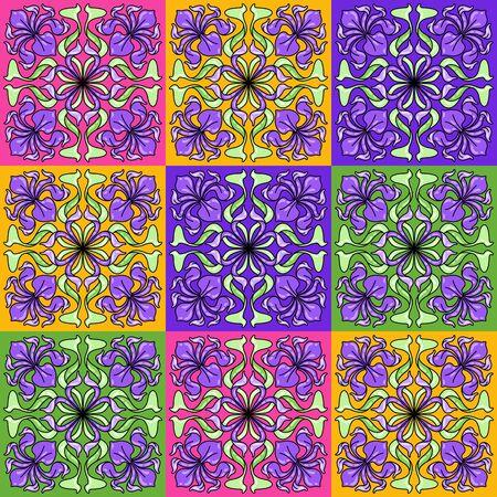 Jugendstil-Keramikfliesenmuster. Blumenmotive im Retro-Stil. Vintage Keramik mit Blumen und Blättern. Vektorgrafik