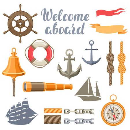 Collection of nautical symbols and items. Marine retro decorative illustration.