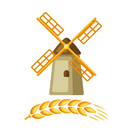 Illustration of grain mill with ripe wheat ear. Agricultural emblem. Ilustracja