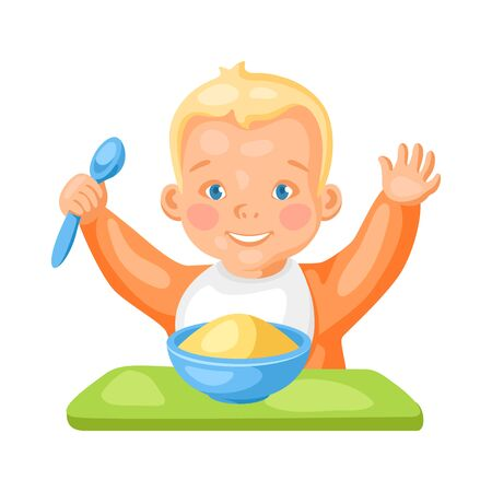 Illustration of cute little baby with plate of porridge. Eating pretty child. Ilustração