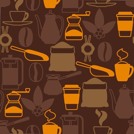 Seamless pattern with coffee icons. Food illustration of beverage items. Background for coffee shop, bar and cafe.