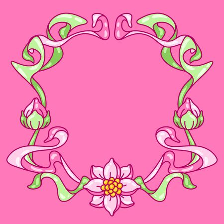 Frame with lotus flowers. Art Nouveau vintage style. Water lily decorative illustration. Natural tropical plants.