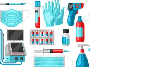 Background with medical equipment and protection. Health care, treatment and safety items.