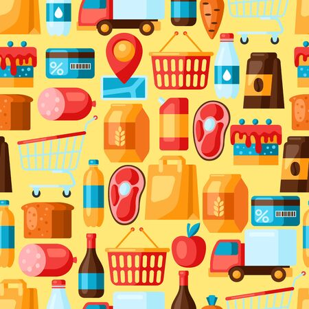 Supermarket seamless pattern with food icons. Grocery illustration in flat style.