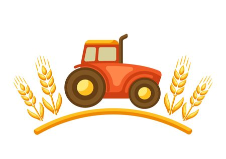 Illustration of harvest tractor with ripe wheat ears. Agricultural emblem.