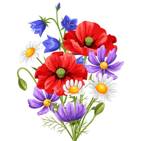 Bouquet with summer flowers. Beautiful realistic poppies, daisies and bells.