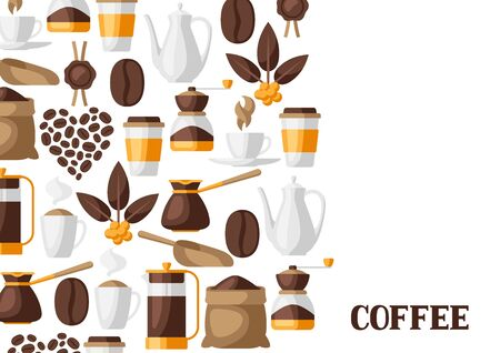 Background with coffee icons. Food illustration of beverage items. Design for coffee shop, bar and cafe. Illustration