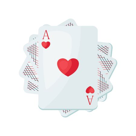 Illustration of heart playing cards. On-board game or gambling for casino. Ilustrace