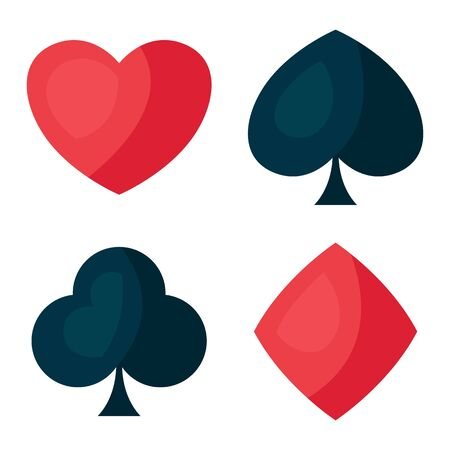 Set of four playing cards symbols. On-board game or gambling for casino. Ilustrace